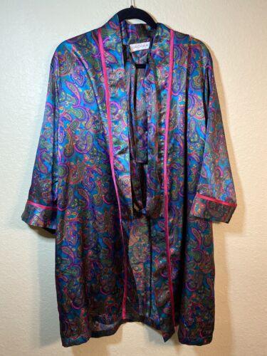 Vintage Cacique Lingerie Paisley Style Robe Size L
