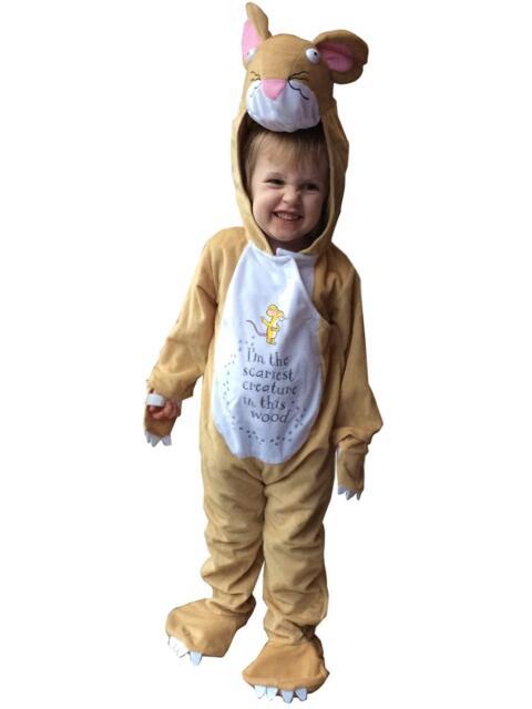 Kids Grey Furry Elephant Animal Jumpsuit Girls Boys Childs Fancy Dress Costume