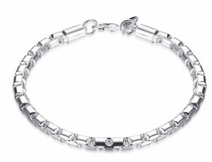 Valentine-039-s-925-Sterling-Silver-Bracelet-Round-Box-Link-Chain-GiftPack-D472A