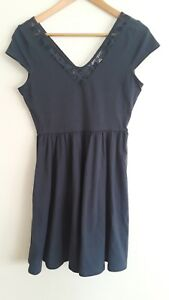 LC-Lauren-Conrad-Navy-Dress-Lace-Neck-Cap-Sleeve-NWOT-Size-S