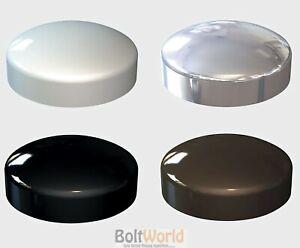 2-PIECE-PLASTIC-DOME-SCREW-COVER-CAP-CHROME-WHITE-BLACK-BROWN-PLASTIDOME-CAPS