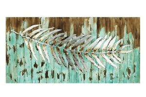 120cm-Timber-amp-Metal-Canvas-Wall-Hanging-Art-w-Silver-Leaf-Turquoise-Blue-Aqua