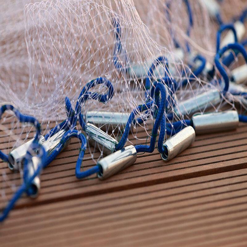 10FT-22FT Hand Cast Mono Fishing Net Spin Network Saltwater Bait Fish Net+Sinker