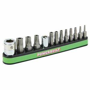 Powerbuilt 13 Piece Tamper Proof Star Bit with Magnetic Base Holder, T-8 to T-40