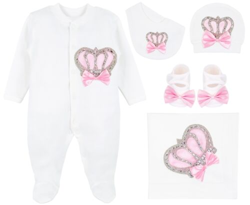 Baby Girl Newborn Jewels Crown Pink Take Me Home Layette 5 Piece Gift Set 0-3M