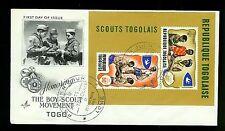Boy Scouts of Togo 1968 Souvenir Sheeet FDC Artcraft  Cachet Scouts Togolaise