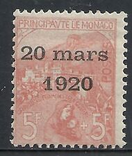 Monaco 1920 YV 43  MLH  VF  RARE! Only 1050 Issued