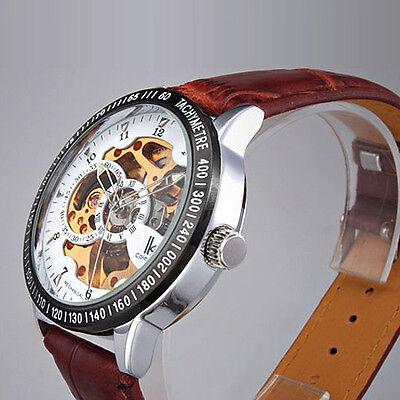 Fashion Skeleton Automatic Brown Gold Faux Leather Men's Wrist Watch Waterproof
