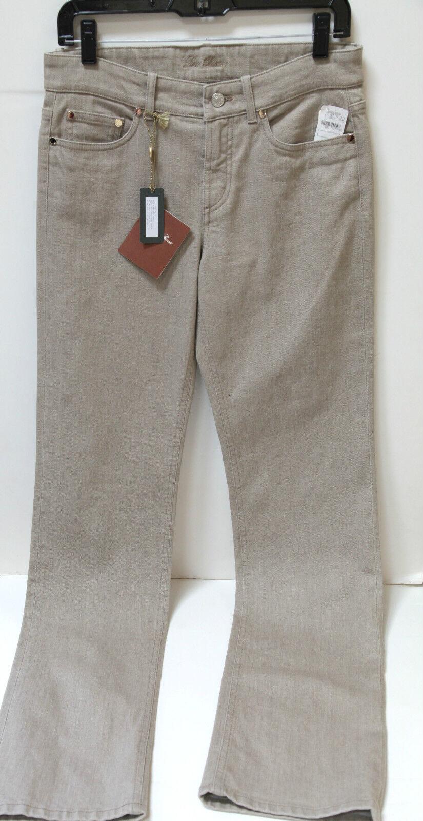 NWT Lgold Piana  Womens Guy Madison Denim Tan Jeans 42 6 FS