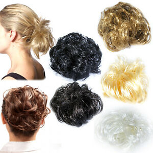 hair scrunchie for bun or ponytail 8 colours large synthetic hair