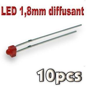 364/10# LED 1,8mm rouge diffusant 10pcs