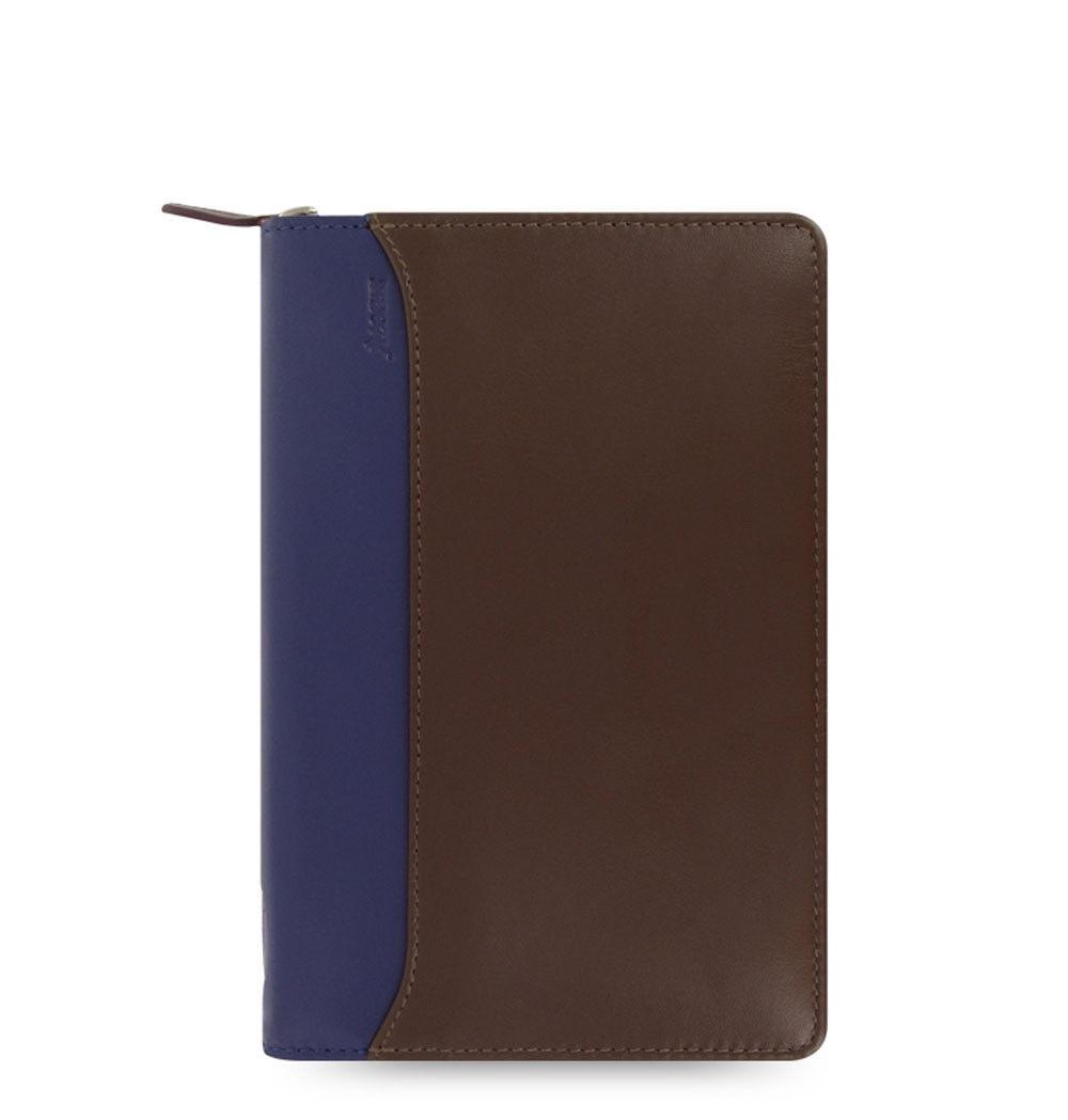 Filofax Nappa Personal Zip Organiser Planner Chocolate &bluee Leather 025151 Gift