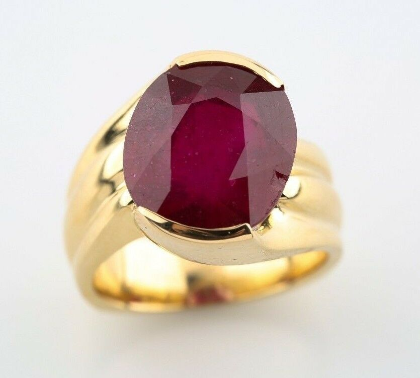 Ruby 9.92 carat Natural Oval Solitaire 14k Yellow gold Fashion Ring Size 5.5