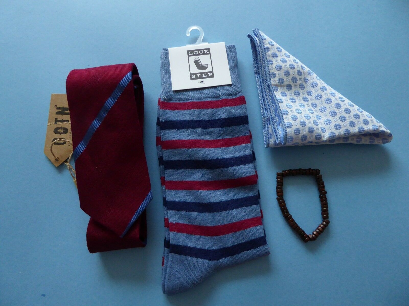 GOTN Burgundy Red Tie + Bracelet + Lock Step Sock + Soft Landing Pocket Square