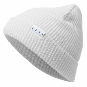 Neff-Unisex-Fold-Beanie-White-Snow-Cold-Skii-Headwear-Winter
