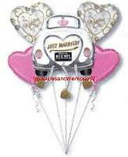 Anagram Just Married Balloon Bouquet 5 Balloons Wedding Mr Mrs Hearts Pink