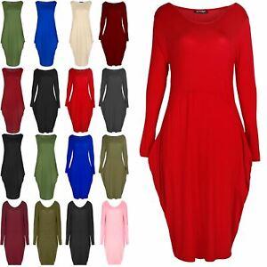 Womens-Italian-Drape-Lagenlook-Baggy-Long-Sleeve-Ladies-Side-Pockets-Midi-Dress