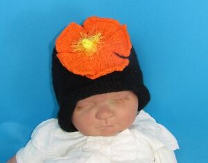 02571413c51 Image is loading PRINTED-INSTRUCTIONS-BABY-FLOWER-SLOUCH-BEANIE-HAT -KNITTING-