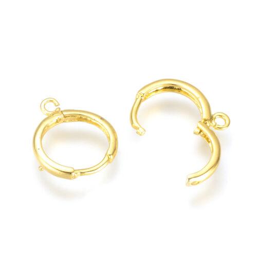 20pcs Brass Leverback Earwire Round Hang Loop Gold Hoop Earring Findings 16~17mm