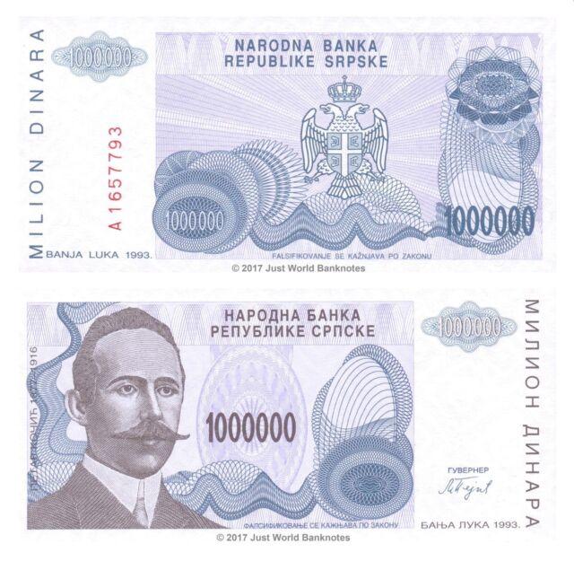 Pick 152 UNC Bosnia and Herzegovina 1993-1 000 000 Dinara
