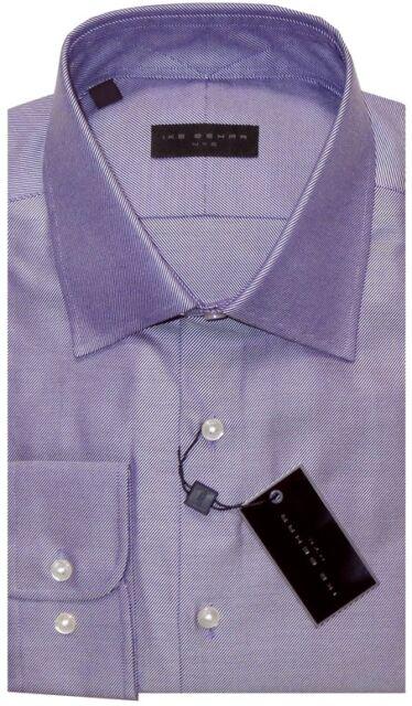 NEW IKE BEHAR PURPLE DIAGONAL TWILL CLASSIC FIT DRESS SHIRT 16.5 34/35