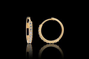 14K-Yellow-Gold-Thin-Huggie-Brilliant-Round-0-20-ct-Created-Diamond-Earrings