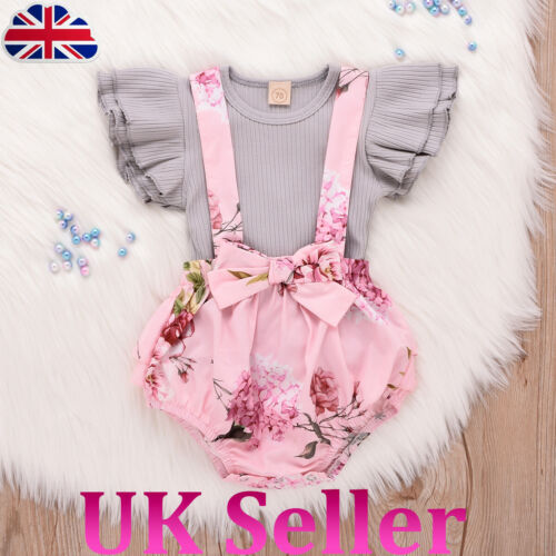 UK Infant Baby Girl Toddler Ruffle Short Sleeve Top Floral Print Braces Pant New