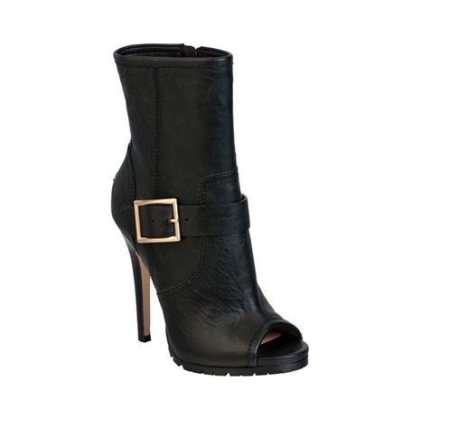 New Jimmy Choo Deja Deja Deja Black Biker Leather Peep Toe Boots Size 34.5 29cac0