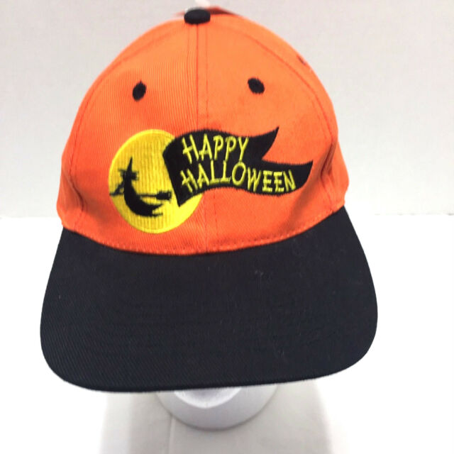 8453c80cf7e Happy Halloween Hat Orange Black Witch Moon Snapback Baseball Cap Costume