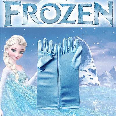 Cute Disney Frozen Elsa Princess Satin Gloves Girls Fancy Dress Cosplay Toy Gift