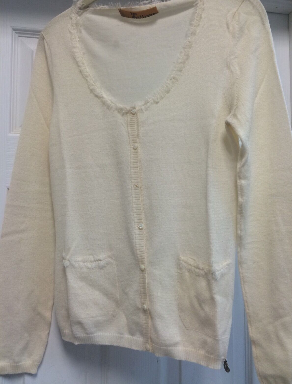 John Galliano Solid Ivory White 100% Fine Wool Cardigan Sz S