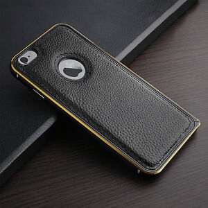 Black-Genuine-Leather-Case-Cover-For-Apple-iPhone-5-5s-6-6s-or-6-Plus