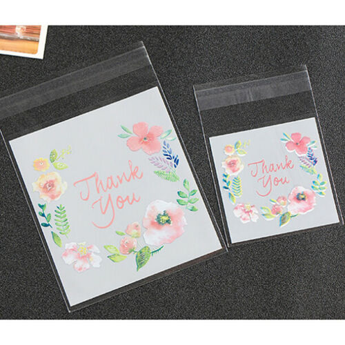 100pcs Pink Flower Thank You Cookie Packaging Self-Adhesive Plastic Bags S