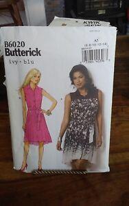 Oop-Butterick-6020-misses-summer-dress-tiny-pleats-shaped-hem-sz-6-14-NEW