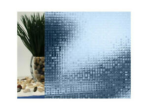 "Blue Mini Mosaic Cut Glass Static Cling Window Film, 35"" Wide x 6.5 ft"