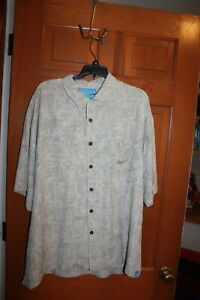 Bermuda-Bay-Men-039-s-XL-Silk-Short-Sleeve-Button-Up-Tan-Pattern-Hawaiian-Shirt-EUC