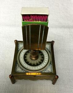 Messing Und Kupfer Um 1900 Fabriken Und Minen Ständer Mit Kleiner Kachel Streichholzständer