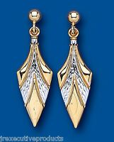 Gold Drop Earrings Yellow And White Gold Drops Two Colour Gold Earrings