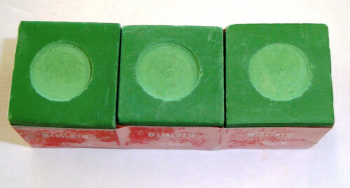 Billiard Pool Chalk 3 Pieces Green NEW + Free Gift & Free Ship CUE