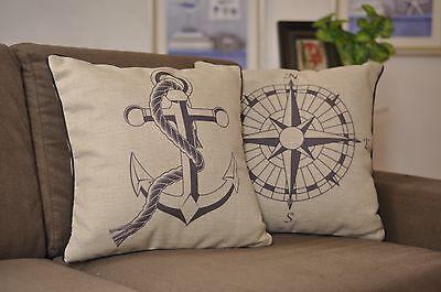 """18"""" One Pair Nautical theme Linen Throw Pillow Case Cushion CoverPillow Sham"""