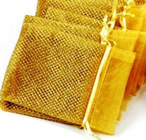 5 edle Organza-Geschenkbeutel,gold,14x10,Neu