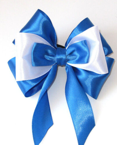 "HANDMADE 4/"" BLUE HAIR BOW BOBBLE CLIP GIRLS Kids CHILDREN HAIR ACCESSORIES"