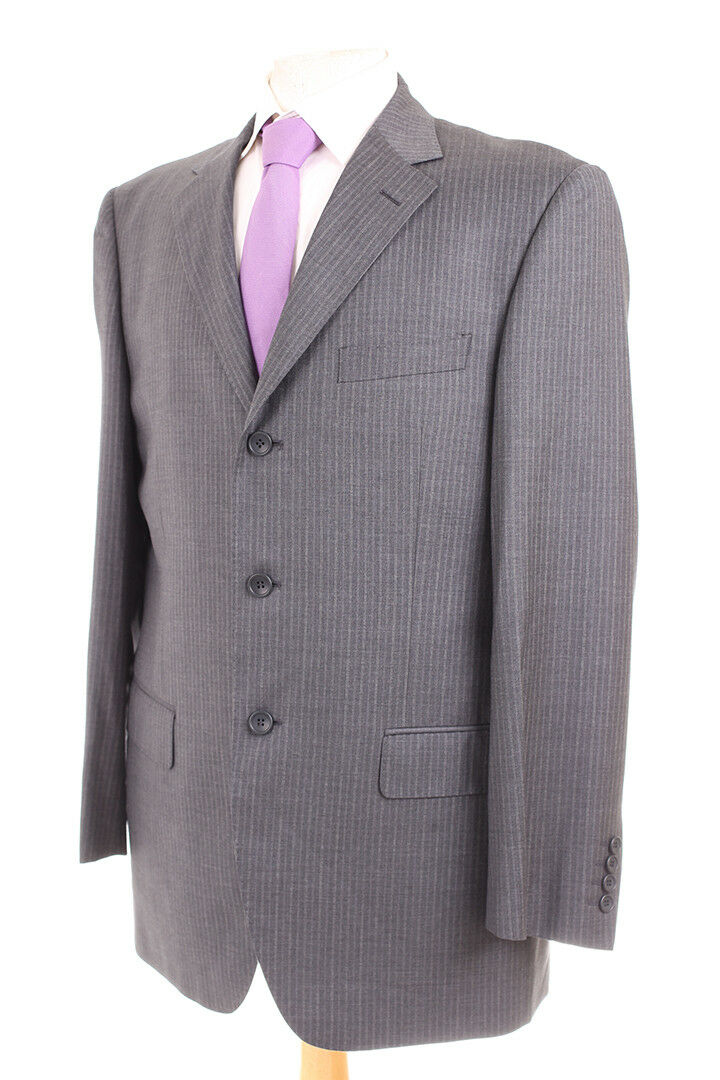 M&S COLLEZIONE grau PINSTRIPE GUABELLO SUPER 130'S WOOL  Herren SUIT 40R DRYCLEANED