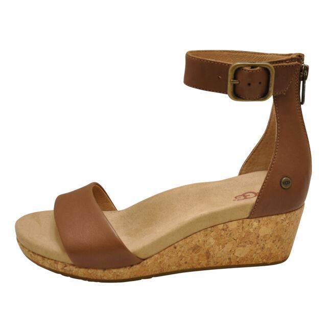 331b8f039e4 UGG ZOE II Chestnut Women's Open Toe Ankle Strap Wedge Sandals 1102674