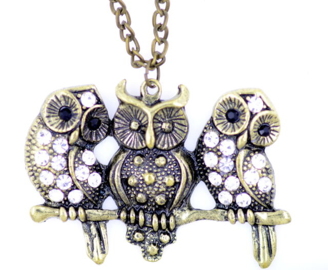 vintage style antique three bronze crystal owls necklace