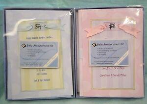 U PICK Baby Announcement KIT Girl BOY Pink BLUE 10 Invitations Envelopes Ribbons