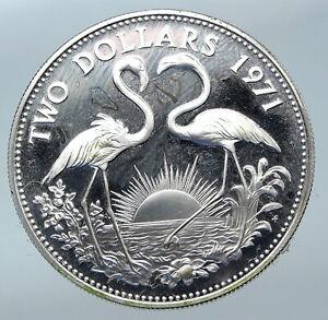 1971-The-BAHAMAS-Elizabeth-II-FLAMINGO-Birds-PROOF-SILVER-2-Dollars-Coin-i85534