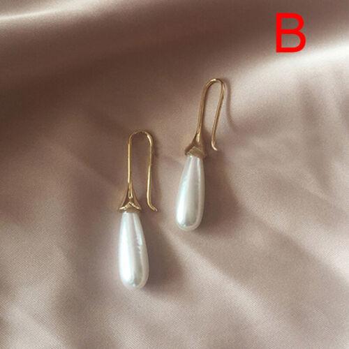 Fashion Women Pearl Water Drop Dangle Earrings Charm Statement Ear Studs  ZB