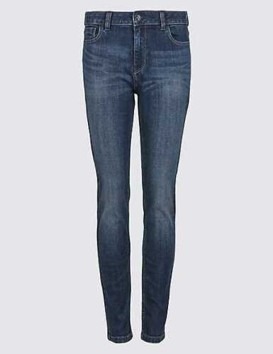 New EX M/&S Ladies Denim BLUE SKINNY JEANS SIZES 8-20