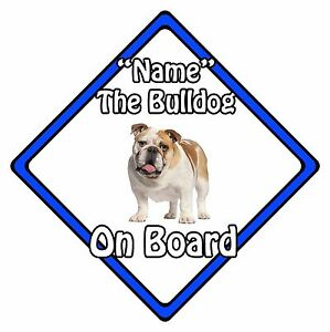 Personalised-Dog-On-Board-Car-Safety-Sign-Bulldog-On-Board-Blue